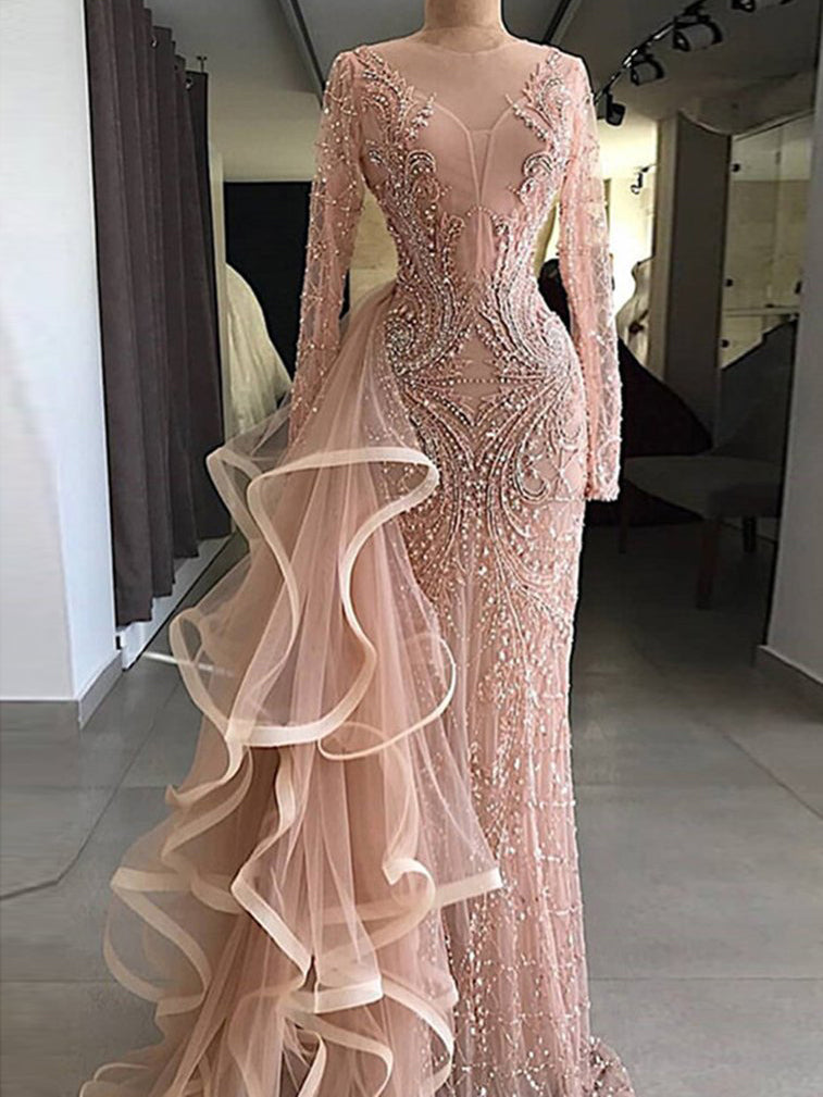 Chic Mermaid Sparkly Prom Dress With Beading Long Sleeve Prom Dresses Long Evening Dress|Amyprom