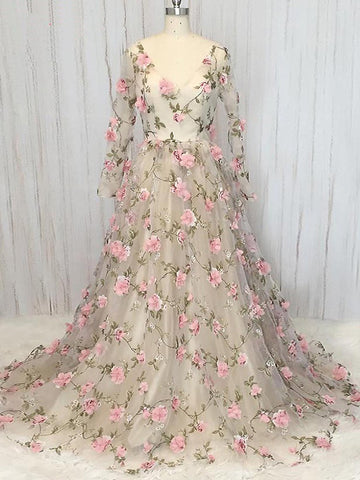Chic A-line V neck Prom Dress With Floral Long Sleeve Prom Dresses Long Evening Dress|Amyprom