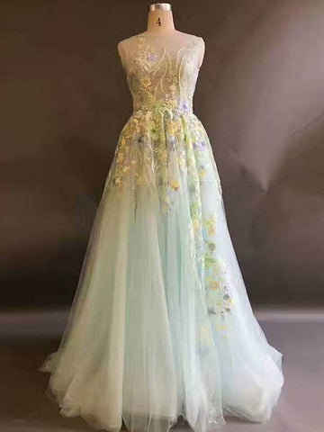 Chic A-line Scoop Prom Dress With Floral Sleeveless Prom Dresses Long Evening Dress|Amyprom