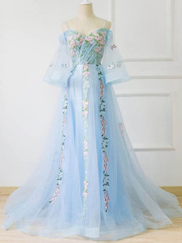 Chic A-line Off-the-shoulder Light Blue Prom Dress With Floral Prom Dresses Long Evening Dress|Amyprom
