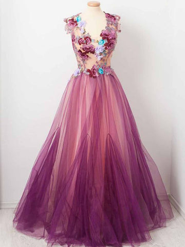 Chic A-line V neck Fuchsia Prom Dress With Floral Prom Dresses Long Evening Dress|Amyprom