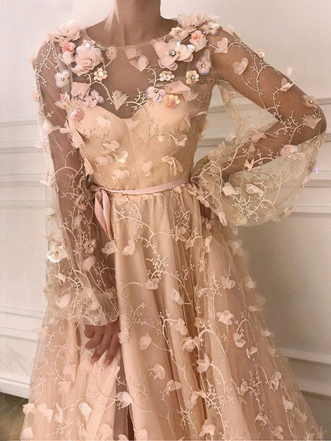 Chic A-line Scoop Long Sleeve Prom Dress With Floral Prom Dresses Long Evening Dress|Amyprom
