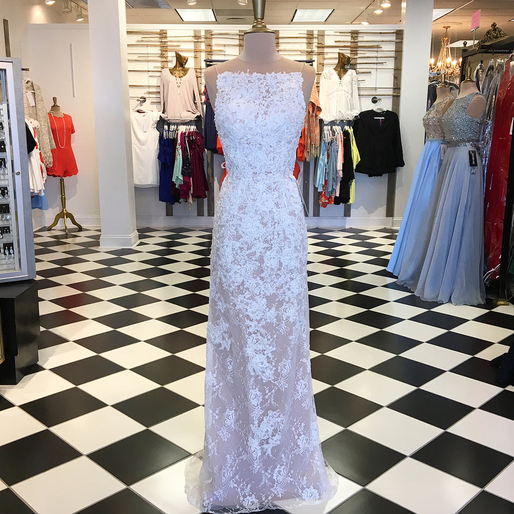 Chic Sheath/Column Spaghetti Straps White Prom Dress With Lace Fitted Prom  Dresses Long Evening Dress AMY1929