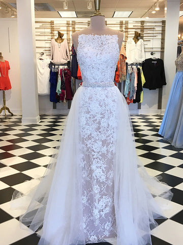 Chic Sheath/Column Scoop White Prom Dress With Lace Fitted Prom Dresses Long Evening Dress|Amyprom