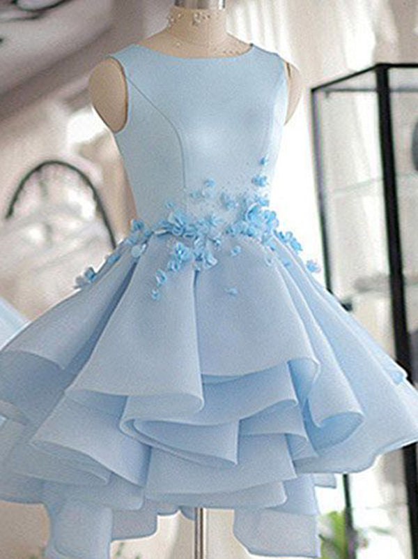 Chic Light Sky Blue Scoop Cute Homecoming Dresses Short Party Prom Dress AMY1933