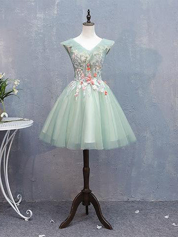 A-line V neck Green Cute Homecoming Dress With Floral Short Prom Dress|Amyprom