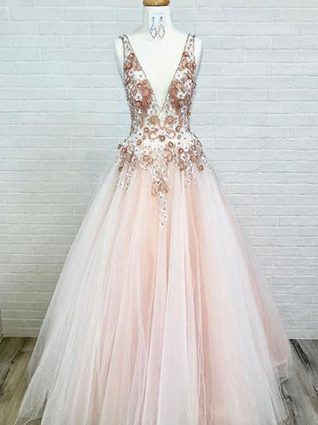 2019 Chic A-line Deep V Neck Lace Prom Dresses Unique Long Prom Dress Evening Dresses AMY1935