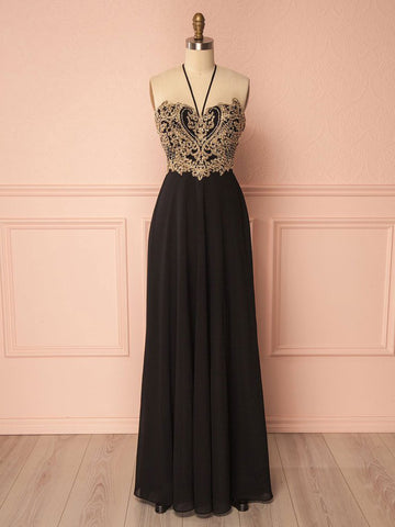 Spaghetti Straps Chiffon Black Gorgeous Prom Dress Gold Prom Dresses Long Evening Dress|Amyprom