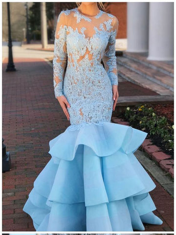 Trumpet/Mermaid Scoop Blue Prom Dress With Sleeve Long Evening Dress|Amyprom