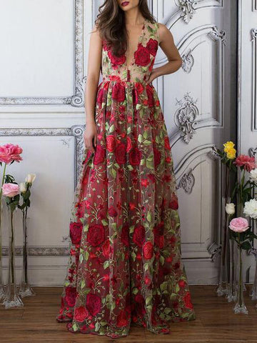 A-line V neck Red Floral Boho Prom Dress Elegant Long Evening Dress|Amyprom