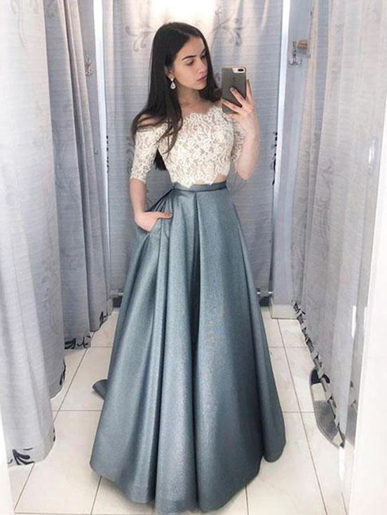 Two Pieces Off-the-shoulder Long Prom Dress With Lace Evening Dress|Amyprom