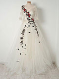 A-line V neck Ivory Long Prom Dress With Sleeve Applique Evening Dress|Amyprom