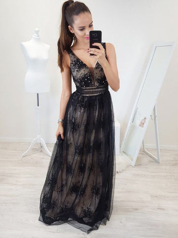 Chic Prom Dress With Lace V neck Long Prom Dresses Party Evening Dress AMY1949
