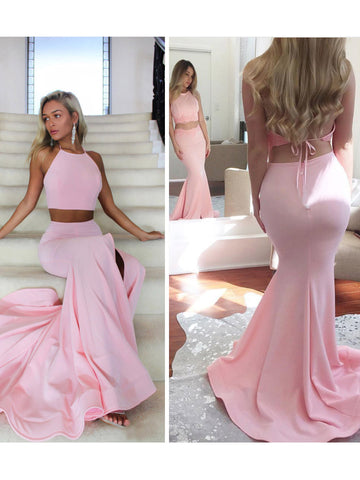 Chic Two Pieces Prom Dresses Long Mermaid Pink Cheap Long Prom Dress Evening Dress AMY194