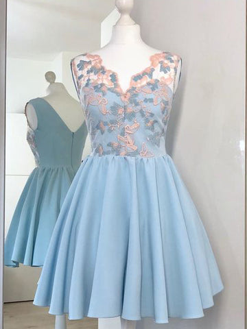 A-line V neck Blue Cute Homecoming Dress With Lace Short Prom Dress|Amyprom