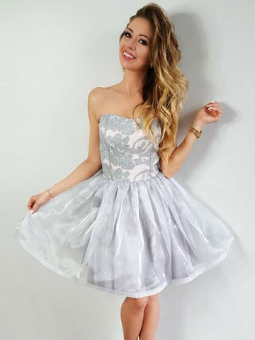 Chic Gray Short Prom Dress A-line Strapless Lace Homecoming Dresses AMY1956