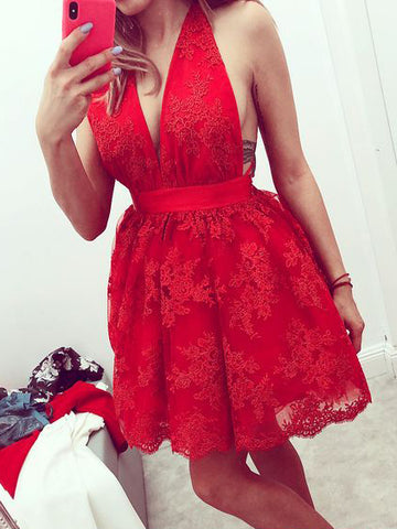 Chic A-line Red Homecoming Dresses Lace Halter Short Prom Dress AMY1957