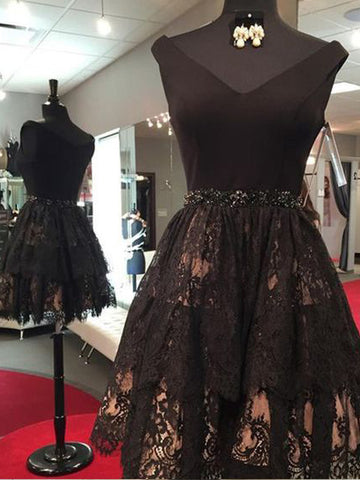 Chic Black Short Prom Dress A-line V neck Lace Homecoming Dresses AMY1959