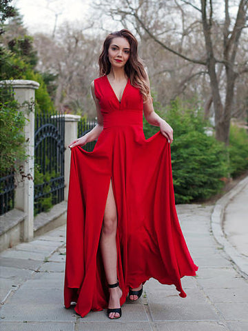 Chic Red Prom Dresses Long V Neck Cheap Simple Long Prom Dress Party Dresses AMY195