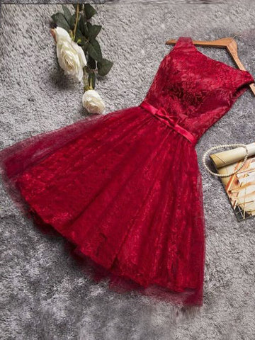 Burgundy Homecoming Dress A-line Bateau Lace Short Prom Dresses Homecoming Dresses AMY1966