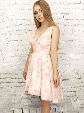 High Low Homecoming Dress A-line Pink V neck Lace Homecoming Dresses AMY1967