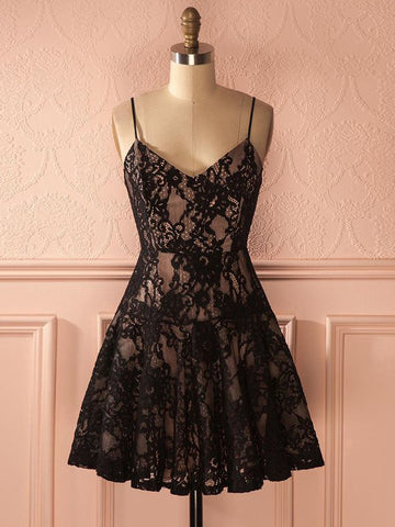 Black Spaghetti Straps Homecoming Dress A-line Lace Short Homecoming Dresses AMY1969