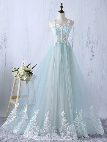 Chic Long Prom Dress A-line Straps Floor-length Beautiful Prom Dresses Evening Dress AMY1970