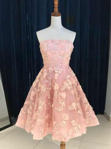 A-line Strapless Pink Homecoming Dress Short With Lace Short Prom Dress|Amyprom