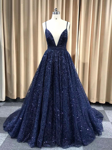 Dark Navy Prom Dress Spaghetti Straps Sparkly Prom Dresses Party Evening Dress|Amyprom