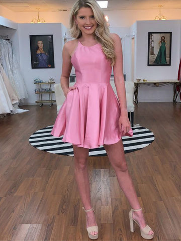Chic A-line Pink Homecoming Dresses Simple Cheap Short Prom Dress AMY1979