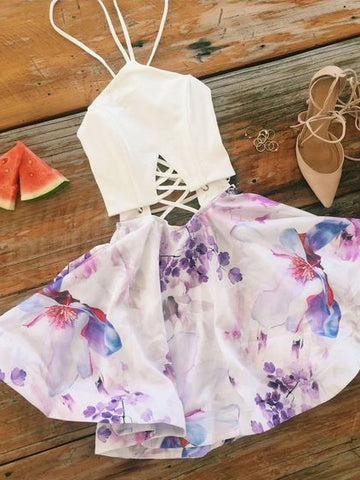 Chic A-line Floral Homecoming Dresses Beautiful Cheap Short Prom Dress AMY1980