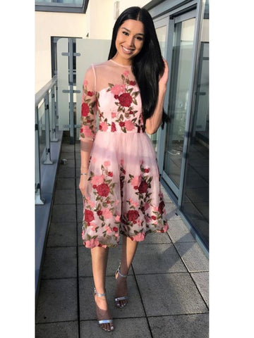 Chic A-line Floral Homecoming Dresses Pink Beautiful Cheap Short Prom Dress AMY1981