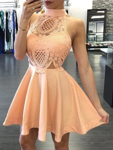 Chic High Neck Homecoming Dress Short/Mini Cute Prom Homecoming Dresses AMY1983