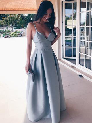 Chic Simple Prom Dresses Long Spaghetti Straps Cheap Long Prom Dress Evening Dress AMY198