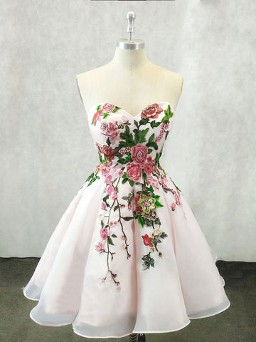 Chic Homecoming Dress A-line Sweetheart Flower Short Homecoming Dresses AMY1990