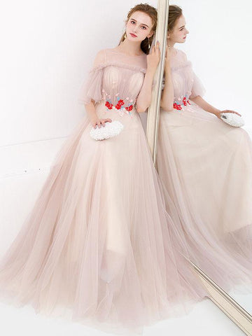 Chic A-line Prom Dress With Sleeve Cute Prom Dresses Long Evening Dress AMY1993
