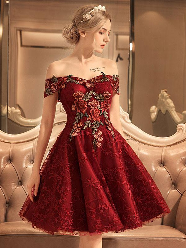 Burgundy Homecoming Dress Off-the-shoulder Flower Homecoming Dresses AMY1995