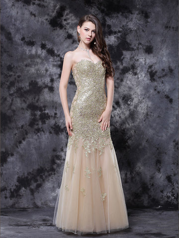 Chic Mermaid Prom Dresses Long Sweetheart Applqiue Cheap Long Prom Dress Evening Dress AMY199
