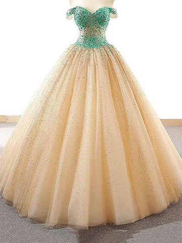 Ball Gown Prom Dress Off-the-shoulder Sparkly Prom Dresses Party Evening Dress AMY2005