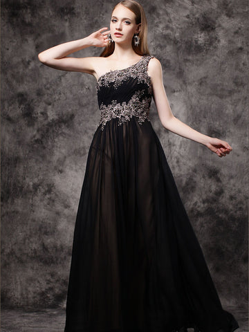 Chic Black Prom Dresses Long One Shoulder Applqiue Cheap Long Prom Dress Evening Dress AMY200