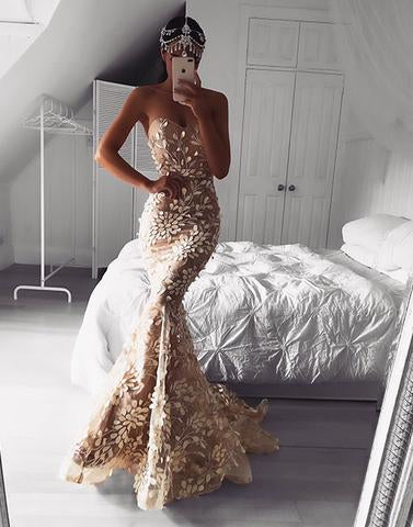 Chic Mermaid Prom Dress Sweetheart Long Prom Dresses Evening Dress AMY2011
