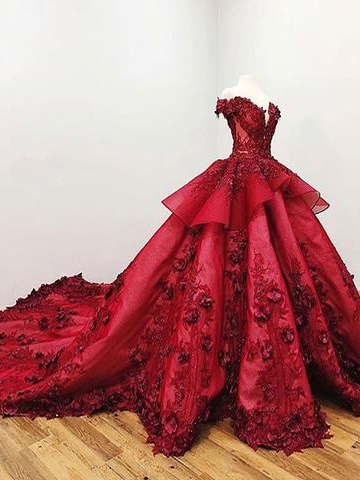 2018 Chic Ball Gowns Prom Dresses Red Off-the-Shoulder Long Prom Dress Evening Dresses AMY2012