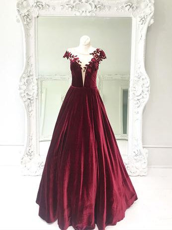 Burgundy Prom Dress Scoop Elegant Long Prom Dresses Party Evening Dress AMY2013