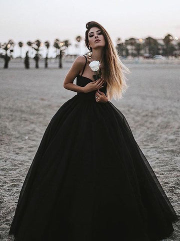 Chic Black Prom Dress Spaghetti Straps Simple Long Prom Dresses Party Evening Dress AMY2017