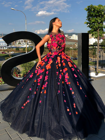Chic Black Prom Dress Scoop Ball Gowns Long Prom Dresses Party Evening Dress AMY2018