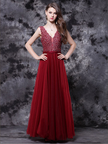 Chic Burgundy Prom Dresses Long V neck Modest Long Prom Dress With Beading AMY201