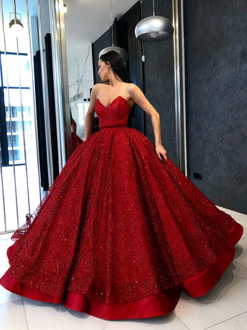 Chic Ball Gowns Red Prom Dresses Sparkly Long Party Prom Dress Evening Dress AMY2022
