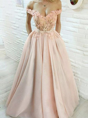 Chic Pink Prom Dress A-line Off-the-shoulder Applique Long Prom Dresses Party Evening Dress AMY2023