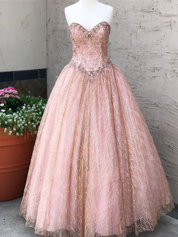 Chic Pink Prom Dress A-line Sweetheart Beading Long Prom Dresses Party Evening Dress AMY2025