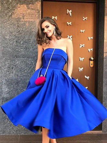 Chic Royal Blue Homecoming Dresses Simple A-line Short Party Prom Dress AMY2026